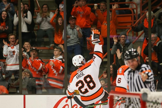 Kruse Scores Shootout Goal To Grant Falcons Second WCHA Point In Tie Against Alaska - Bowling Green State University Athletics